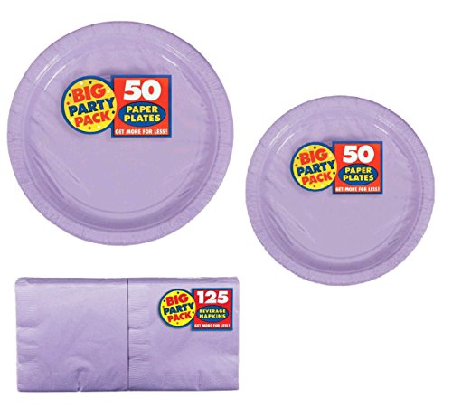Big Party Pack Party Supplies Value Bundle for 50-9 inch Plates, 7 inch Plates and Beverage -