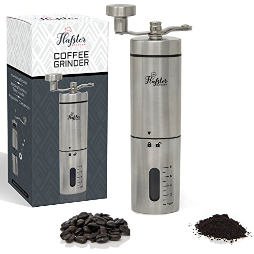 Flafster Kitchen Manual Coffee Grinder- Hand Coffee Bean Grinder With Ceramic Mechanism- Portable Stainless Steel Burr Coffee Mill With Foldable Stainless Steel Handle - Ergonomic Design - Accessories by Flafster Kitchen (Image #6)