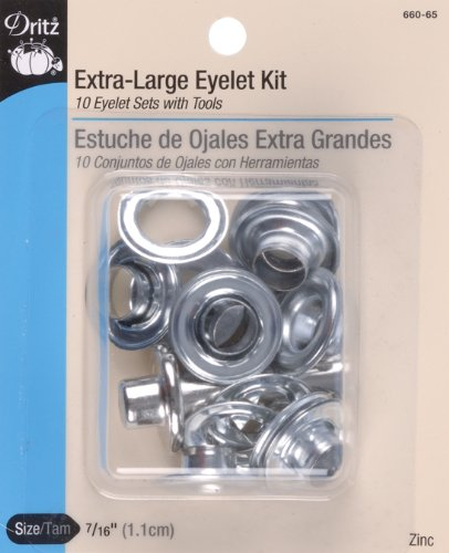 Dritz 660-65 Extra-Large Eyelet Kit with Tool, 7/16-Inch, Zinc, 10 Count