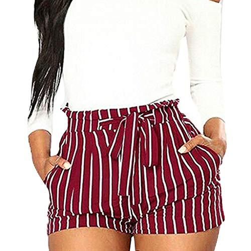 (LuluZanm Summer Short Pants for Women,Sale Ladies Stripe Printing Pocket High Waist Shorts Bandage Easy Elastic Pants)