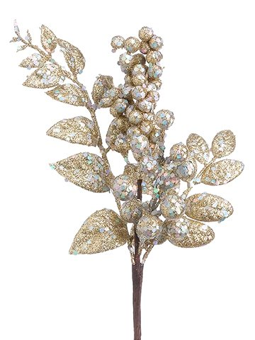 Christmas Tablescape Decor - Decorative champagne glittered grape cluster - pack of 24