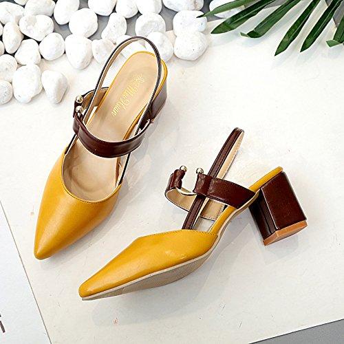 Avec Citron Sandales Expos Talons Bout Femmes Simples Chaussures Des Est Baotou Hauts 39 Jaune q1wwaA7