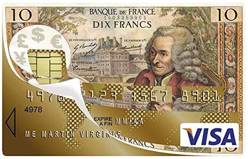Deco-idees Stickers d/écoratif pour Carte bancaire 10 FRANCS
