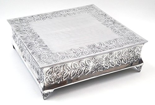 Silver Wedding Cake Stand Square 16'x16' a Strongly Built Masterpiece for Multilayer Cake