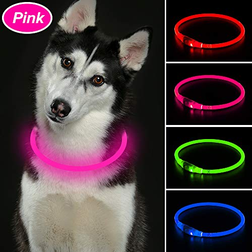 ace - Double Use USB Rechargeable Light up Blinking Necklace Glow Toy for Large Medium Small Dog & Children and Adult (Pink) ()