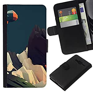 YiPhone /// Tirón de la caja Cartera de cuero con ranuras para tarjetas - Geometría Montaña - Samsung Galaxy Core Prime