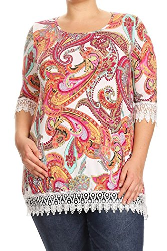 Womens Multi Color Print Crochet Tunic
