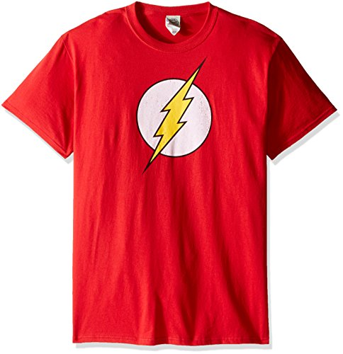DC Comics Men's The Flash Short Sleeve T-Shirt, Flash Logo Red, Large (Collectible Tees)