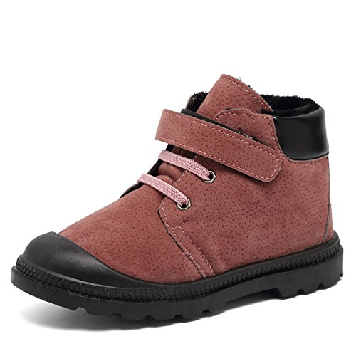 CIOR Boys Girls Classic Winter Warm Waterproof Leather Boots Cute Retro Shoes(Toddler/Little Kid)