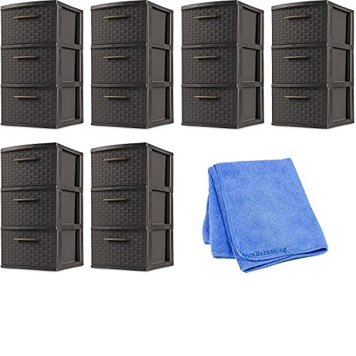 Sterilite 26306P02 Decorative 3-Drawer Storage Weave Tower, Espresso, Set of 6 with Cleaning Cloth by STÈRILITE