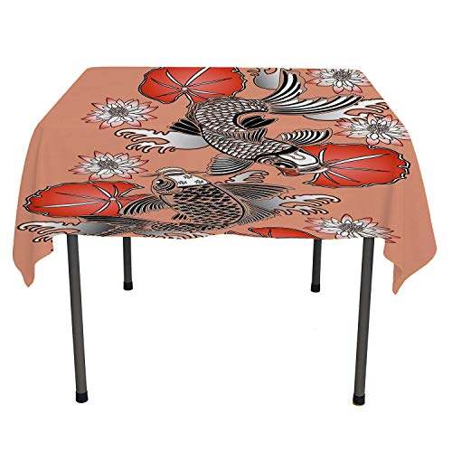 Flyerer Koi Fish BBQ Tablecloth Sacred Carp in Traditional Japanese Ink Style Lilles Classic Artwork Coral Black White Custom tablecloths Square Tablecloth 54 by 54 inch