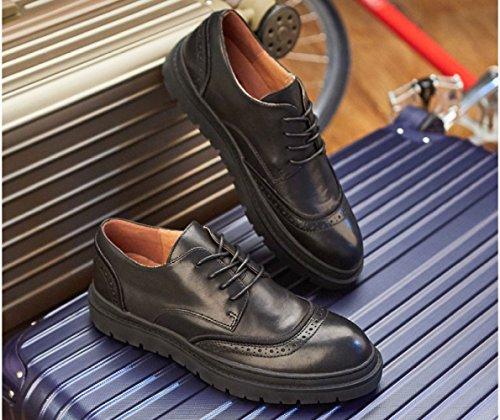 en Black Hommes Chaussures Hommes Retro Cuir Cuir LEDLFIE Décontracté Chaussures Sculpté Véritable Respirant fXwC6