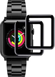 Hianjoo [2-Pack] Tempered Glass Screen Protector Compatible with Apple Watch 42mm [3D Curved Full Coverage], Anti-Scratch, No bubble, Replacement for Apple iWatch 42mm Series 3/2/1 - Black Edge