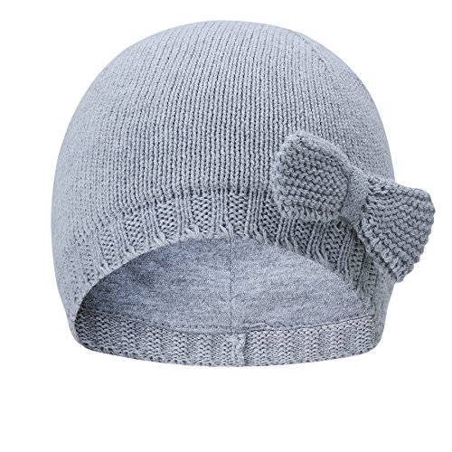 vivobiniya Toddler Baby Girl Lovely Bowknot Knit Hats Baby Hats 6m-4years Old (2-4years Old(Head Circumference 19.6-20.4in), Grey)
