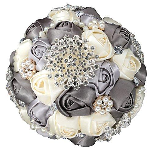 Zippersell Bridal Wedding Bouquet,Artificial Bridal Bride Brooch Bouquets,Handmade Satin Roses Wedding Flower D453 Gray - Floral Bouquet Brooch