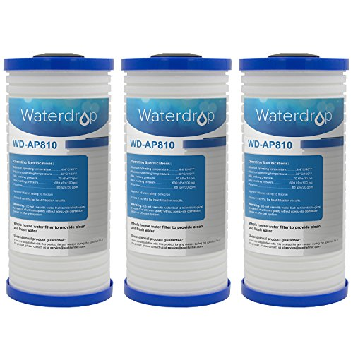 Waterdrop Replacement Whole House Water Filter, Compatible with 3M Aqua-Pure AP810 5 Micron Whirlpool WHKF-GD25BB, Pack of 3 ()
