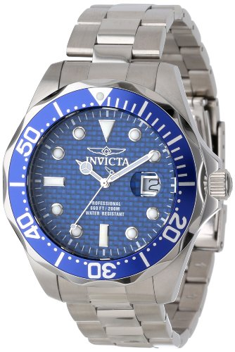 (Invicta Men's 12563 Pro Diver Blue Carbon Fiber Dial Stainless Steel Watch )