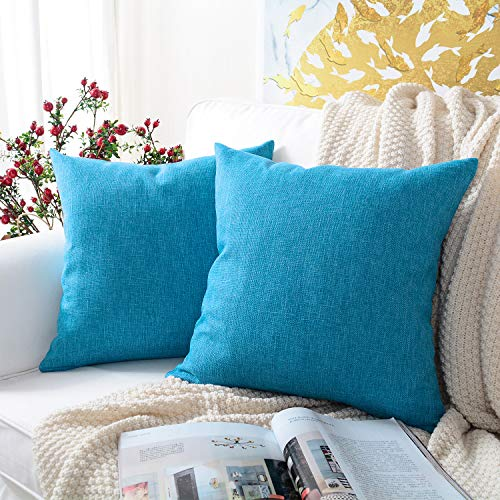 MERNETTE Pack of 2, Cotton Linen Blend Decorative Square Throw Pillow Cover Cushion Covers Pillowcase, Home Decor Decorations for Sofa Couch Bed Chair 16x16 Inch/40x40 cm (Vivid Blue)]()