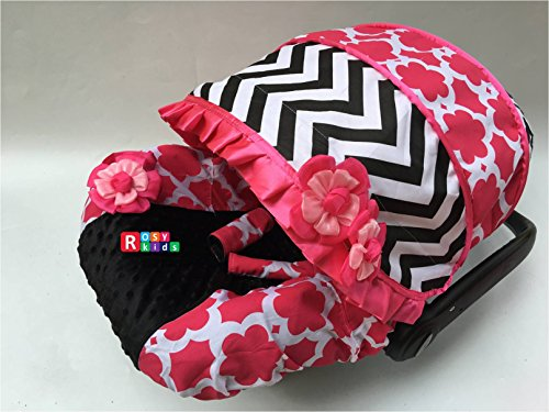Rosy Kids Infant Carseat Canopy Cover 3 Pc Whole Caboodle Baby Car Seat Cover Kit Cotton C030200 ()