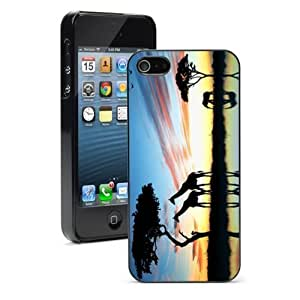 Pink Ladoo? For iPhone 4 4S Hard Case Cover Giraffe Family Sunset
