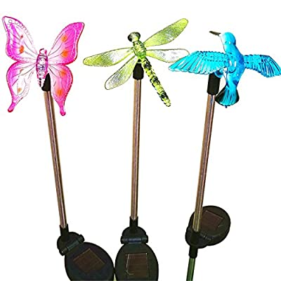 Sogrand 3pcs-Pack,Solar Lights Outdoor,Dragonfly,Butterfly and Hummingbird on Stainless Steel Stake,Solar Garden Lights,Solar Light,for Lawn,Patio,Yard,Walkway,Driveway,Pathway