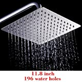 Monsoon Dual Spa Shower Head Set New 12'' Square Stainless Steel Rain Shower Head Rainfall Bathroom Top Sprayer