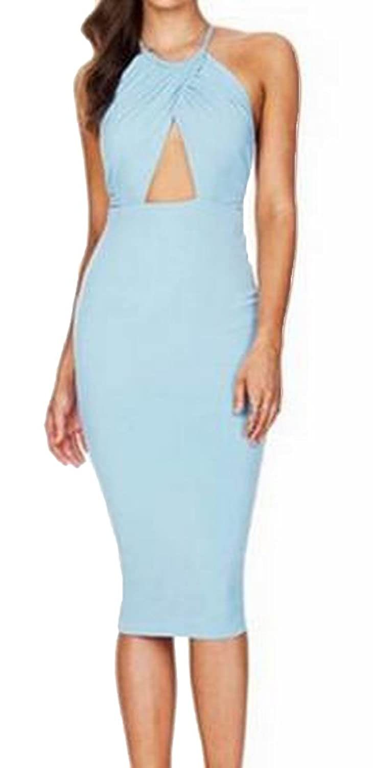 Unko Womens Solid Color Hollow Out Ruched Bodycon Dress