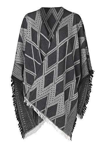 becksöndergaard Parsley Cape in schwarz grau beidseitig tragbar aus sehr weichem Wollmix 1607673002-010