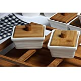 Porcelain Canisters - Bamboo Lid - Spice Jar With Spoon (6 Pcs Plain White Lid and Base)