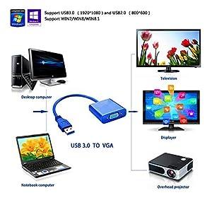 Premium USB 3.0 to VGA Adapter Converter, Jackiey Mini Full HD External Video Card Multi Monitor Adapter USB to VGA Adapter Converter Support Max Resolution 1080p for Win 7 8 10