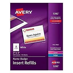 Avery Name Badge Insert Refills, 3\