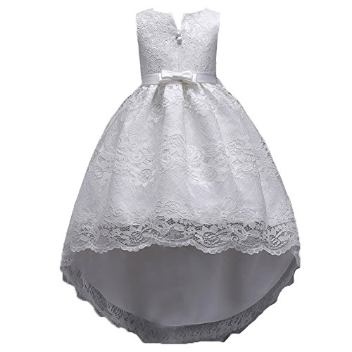 Big Girl Dresses Size 10-12 Wedding Party Prom Special Occasion Tops 7-16 Lace A Line Girls Bridesmaid Dresses Children Birthday Princess Pageant Elegant Gift Beauty Cute (7-10 Years White 150) ()