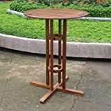Bar Table Features Stain Finish UV Resistant Made of Wood Outdoor Garden Patio or Backyard Furniture