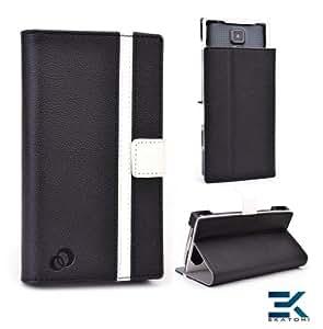 [Matrix] PU Leather Universal Book Folio Phone Cover fits Huawei Ascend D2 Case - BLACK & WHITE. Bonus Ekatomi Screen Cleaner