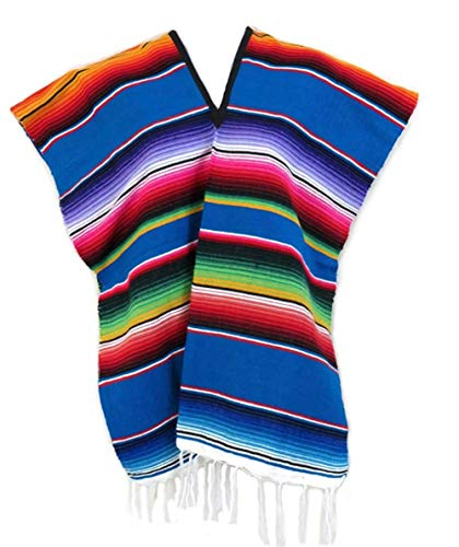 Del Mex Youth Kids Child Mexican Serape Poncho Costume (Blue, Ages 6-10) ()