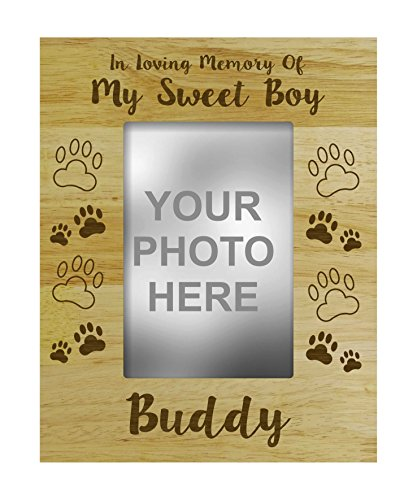 - Darling Souvenir Personalized Wood Engraved Dog Memorial Picture Frame, Loss Of A Pet Gift - In Loving Memory Customizable Quote- 5 x 7 Inches Vertical