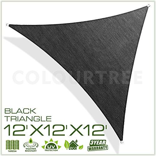 ColourTree 12' x 12' x12' Sun Shade Sail Triangle Black Canopy Awning Shelter Fabric Cloth Screen – UV & Water Resistant Heavy Duty Commercial Grade Outdoor Patio Carport (Custom Size (Extra Heavy Duty Shelter)