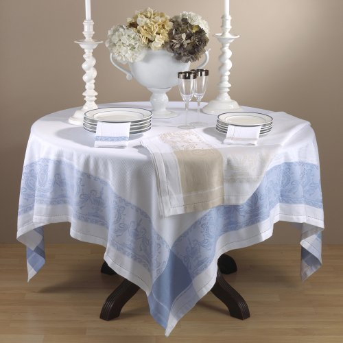 Classic Roman Urn Design Jacquard Tablecloth. 100% Cotton Woven. Blue, 54 Inch Square. One piece . by TCC
