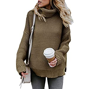 ZKESS Women Loose Round Neck Long Sleeve Color Block Knit Pullover Sweater Jumper Tops