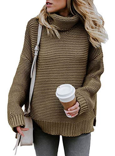AlvaQ Women Winter Fall Solid Round Neck Oversized Turtleneck Full Sleeve Tunic Knitted Sweater Pullover Jumpers Green Small