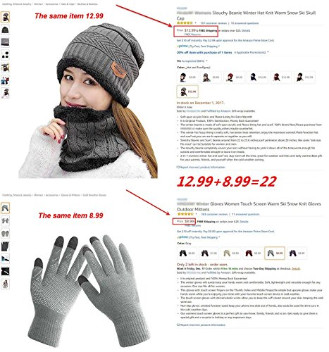 8f1131f4fc3f HindaWi Winter Beanie Hat Scarf Gloves Slouchy Snow Knit Skull Cap Scarves  Touch Screen Mittens For