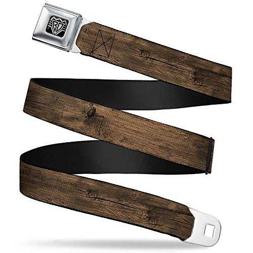 Buckle-Down Seatbelt Belt - Wood Grain3 Horizontal Brown - 1.5