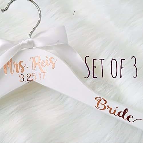 White Wedding Dress Hanger: Amazon.com: Set Of 3 Rose Gold Bride White Wedding Dress