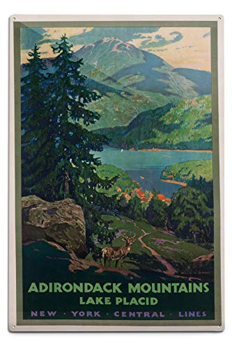 New York Central Lines - Adirondack Mountains Vintage Poster (Artist: Greene) USA (12x18 Aluminum Wall Sign, Wall Decor Ready to Hang)