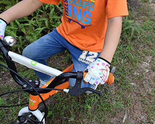 Boys and Girls Bike Gloves for Age 3-10 Half-Finger Outdoor Sports Gloves Great for Cycling,Riding,Climbing,Scooter etc.