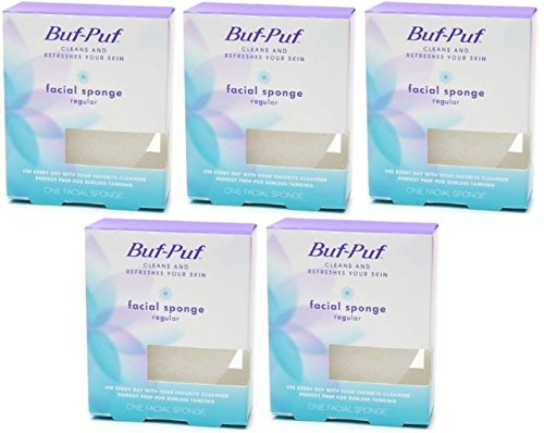 Buf-Puf by 3M Facial Sponge Regular, 5 Pack