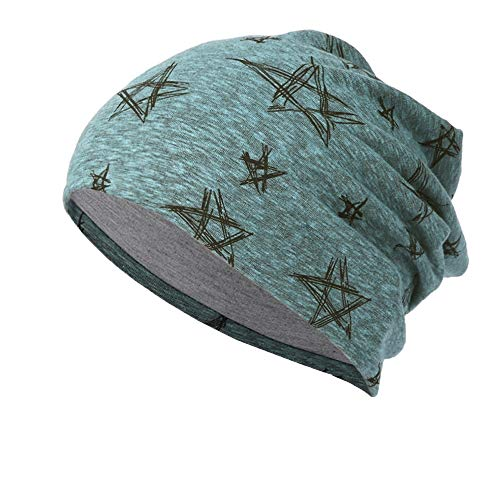 NRUTUP Line Five-Pointed Star Print Multifunction Slouchy Beanie for Jogging, Cycling.(Green,Free Size) from NRUTUP