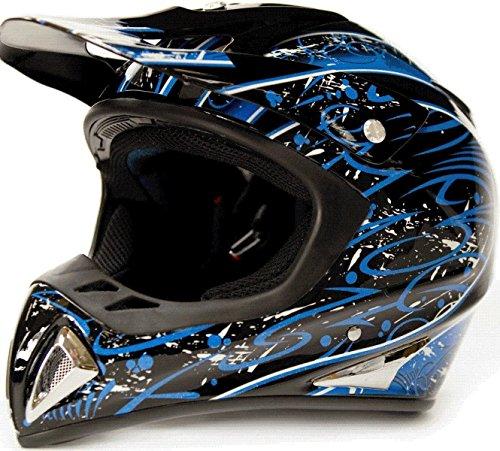 Typhoon Helmets Adult Off Road Dirt Bike ATV Motocross Helmet - DOT Rated - Blue Splatter ( Small ) (Atv Helmets For Adults Small)