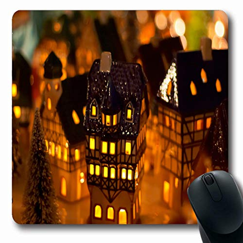 Ahawoso Mousepads Illuminated Village Christmas Candle Houses Present Holidays Gingerbread German Xmas Family Design Oblong Shape 7.9 x 9.5 Inches Non-Slip Gaming Mouse Pad Rubber Oblong Mat
