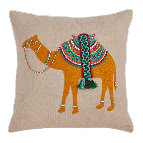 Fennco Styles Jhools Collection Embroidery Beaded Safari Animals 100% Pure Cotton 18 x 18 Decorative Throw Pillow with Case & Insert - Natural Camel Throw Pillow for Couch, Bedroom and Living Room